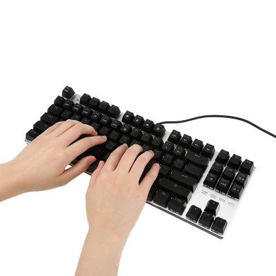 METOO ZERO X51 Mechanical Gaming Keyboard LED LightKeyboards<br>METOO ZERO X51 Mechanical Gaming Keyboard LED Light<br><br>Anti-ghosting Number: all-key<br>Backlight Type: Colorful light<br>Bluetooth Version: Not Supported<br>Brand: METOO<br>Connection: Wired<br>Interface: USB 2.0<br>Key Number: 87<br>Keyboard Lifespan ( times): 60 million<br>Keyboard Switch Type: Blue Switch<br>Keyboard Type: Mechanical Keyboard<br>Material: ABS<br>Operating voltage: 5V<br>Operation Current: 200mA<br>Package Contents: 1 x Keyboard, 1 x Clip<br>Package size (L x W x H): 39.90 x 17.10 x 5.00 cm / 15.71 x 6.73 x 1.97 inches<br>Package weight: 0.7500 kg<br>Product size (L x W x H): 35.10 x 12.50 x 3.50 cm / 13.82 x 4.92 x 1.38 inches<br>Product weight: 0.5500 kg<br>Response Speed: 1000Hz<br>System support: Windows XP, Windows Vista, Windows 10, Windows 7, Windows 8<br>Type: Keyboard