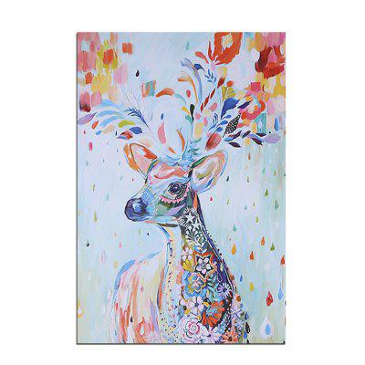 Jingsheng Unframed Canvas Painting Colorful Deer Pattern Home Decoration