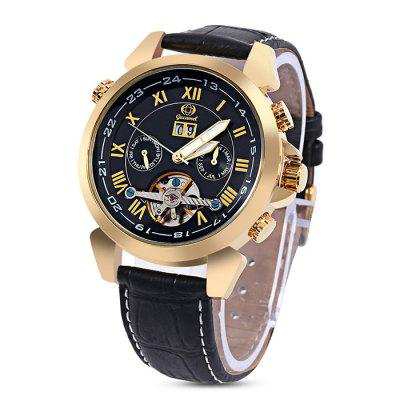 Buy Gucamel GC038 Men Auto Mechanical Watch, BLACK LEATHER BAND+GOLD CASE+BLACK DIAL, Watches & Jewelry, Men's Watches for $50.97 in GearBest store