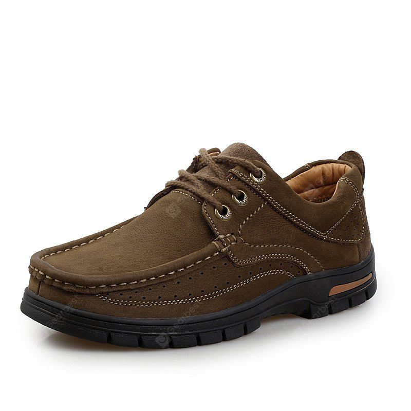 Shockproof Frosted Leather Shoes for Men, BROWN, 43, Bags & Shoes, Men's Shoes, Casual Shoes