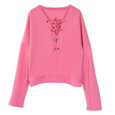 Fashion Wild V-neck Long Sleeves Strap Sweater Blouse