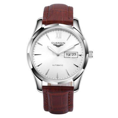 GUANQIN GJ16034 Men Auto Mechanical WatchMens Watches<br>GUANQIN GJ16034 Men Auto Mechanical Watch<br><br>Band Length: 9.75 inch<br>Band Material Type: Genuine Leather<br>Band Width: 18mm<br>Case material: Stainless Steel<br>Case Shape: Round<br>Clasp type: Pin Buckle<br>Dial Diameter: 1.59 inch<br>Dial Display: Analog<br>Dial Window Material Type: Hardlex<br>Feature: Luminous, Day, Date<br>Gender: Men<br>Movement: Automatic Self-Wind<br>Package Contents: 1 x Auto Mechanical Watch<br>Package Size(L x W x H): 7.50 x 10.50 x 7.00 cm / 2.95 x 4.13 x 2.76 inches<br>Package weight: 0.2050 kg<br>Product Size(L x W x H): 29.00 x 4.20 x 1.00 cm / 11.42 x 1.65 x 0.39 inches<br>Product weight: 0.0750 kg<br>Style: Business<br>Water Resistance Depth: 30m