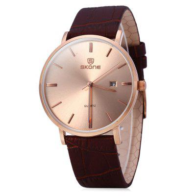 SKONE 9400 Ultrathin Calendar Male Quartz Watch with Leather Strap