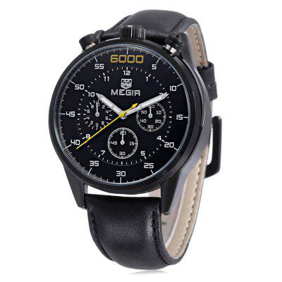 Buy BLACK LEATHER BLACK BLACK MEGIR 3005G Male Quartz Watch for $30.57 in GearBest store