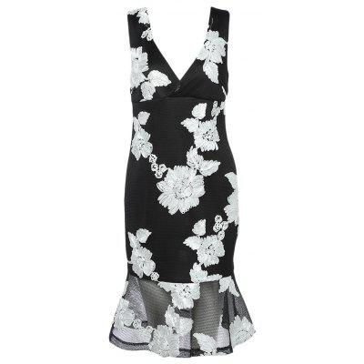 Plunge Neck Backless Floral Embroidery Women Trumpet Dress