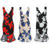 Plunge Neck Backless Floral Embroidery Women Trumpet Dress - RED
