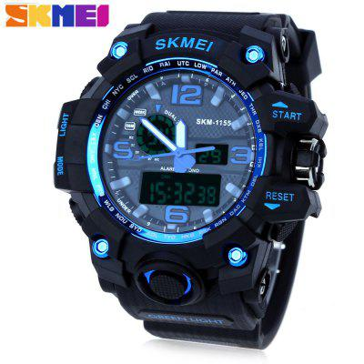 SKMEI 1155 Men LED Digital Quartz WatchMens Watches<br>SKMEI 1155 Men LED Digital Quartz Watch<br><br>Band Length: 8.27<br>Band Length Unit: inch<br>Band Material Type: PU<br>Band Width: 25mm<br>Case material: PC<br>Case Shape: Round<br>Clasp type: Pin buckle<br>Dial Diameter: 1.77<br>Dial Diameter Unit: inch<br>Dial Display: Analog-Digital<br>Dial Window Material Type: Glass<br>Feature: Led Display, Day, Alarm<br>Gender: Men<br>Movement: Digital,Quartz<br>Package Contents: 1 x SKMEI 1155 Men LED Digital Quartz Watch<br>Package Size(L x W x H): 26.00 x 6.50 x 2.50 cm / 10.24 x 2.56 x 0.98 inches<br>Package weight: 0.0960 kg<br>Product Size(L x W x H): 25.00 x 5.50 x 1.50 cm / 9.84 x 2.17 x 0.59 inches<br>Product weight: 0.0750 kg<br>Style: Simple<br>Water Resistance Depth: 50m