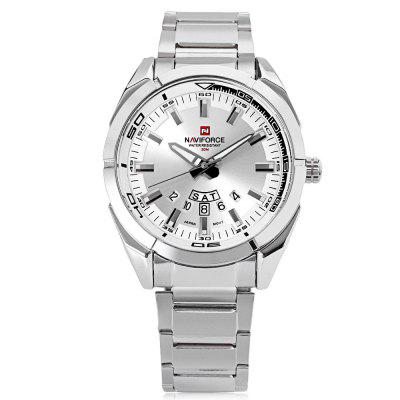 Gearbest Naviforce NF9038M Male Quartz Watch - SILVER AND WHITE Date Day Display 3ATM Stainless Steel Band Luminous Wristwatch