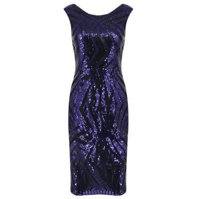 Sequin Printing Back V Neck Bodycon Women Party Dress