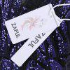 Sequin Printing Back V Neck Bodycon Women Party Dress - BLUE VIOLET