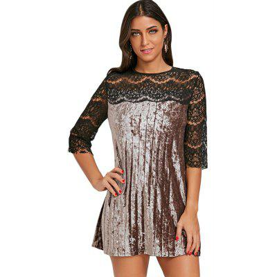 Round Collar 3/4 Sleeve Spliced Lace Velour Women Dress