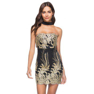 Sexy Strapless Choker Embroidery Bodycon Women Mini Dress