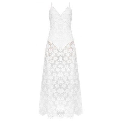 Women Female Sexy Lace Floral A-line Casual Beach Long Dress