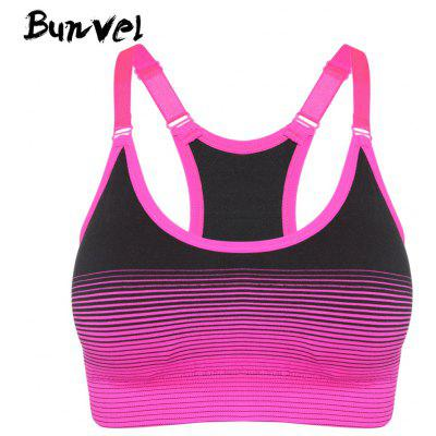Buy Bunvel Shoulder Strap Padded Print Women Sports Bra ROSE RED S for $21.14 in GearBest store