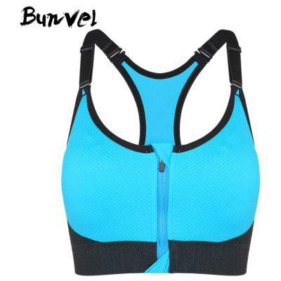 Buy Bunvel Shoulder Strap Padded Zipper Women Sports Bra BLUE M for $21.28 in GearBest store