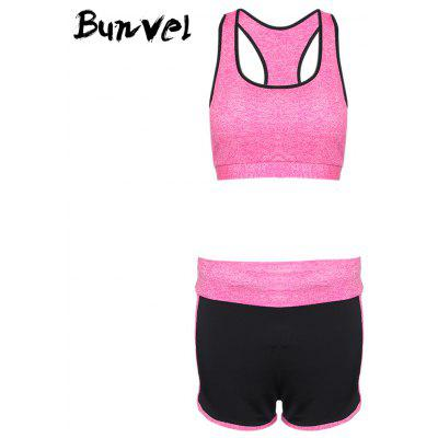 Bunvel Shoulder Strap Padded Print Women Sports Suit