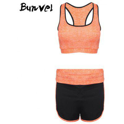 Buy Bunvel Shoulder Strap Padded Print Women Sports Suit ORANGE L for $31.81 in GearBest store