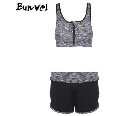 Buy Bunvel Two-piece Shoulder Strap Print Women Sports Suit GRAY S for $32.50 in GearBest store