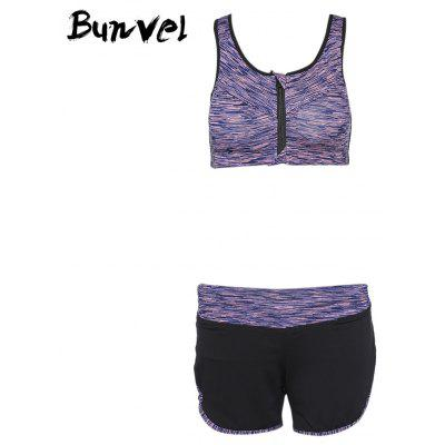 Buy Bunvel Two-piece Shoulder Strap Print Women Sports Suit LIGHT PURPLE S for $32.50 in GearBest store