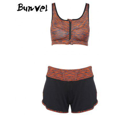 Buy Bunvel Two-piece Shoulder Strap Print Women Sports Suit ORANGE S for $32.50 in GearBest store