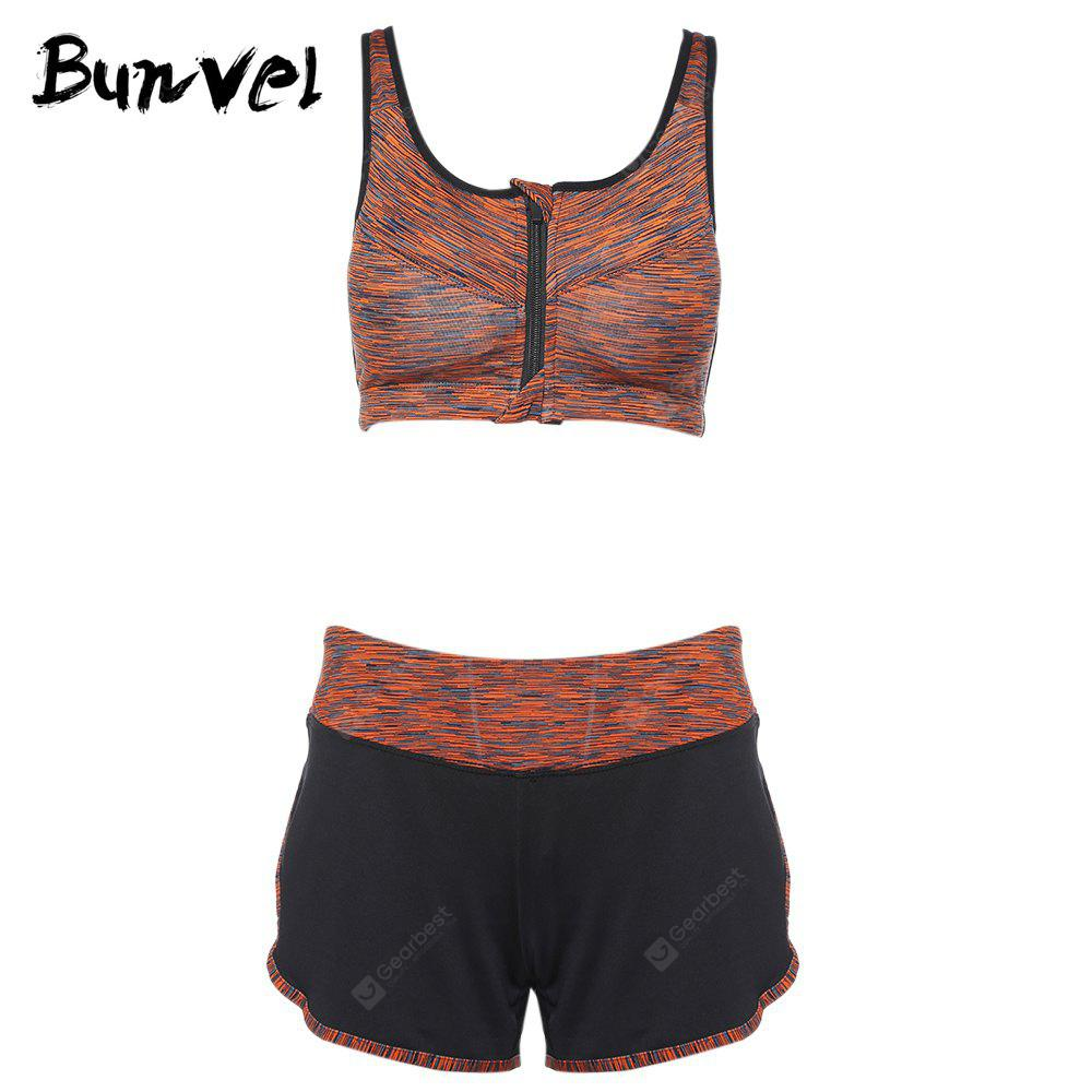 Bunvel Two-piece Shoulder Strap Print Women Sports Suit ORANGE L