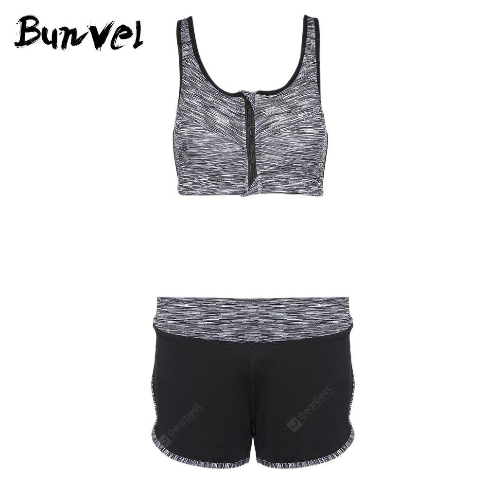 Bunvel Two-piece Shoulder Strap Print Women Sports Suit GRAY M