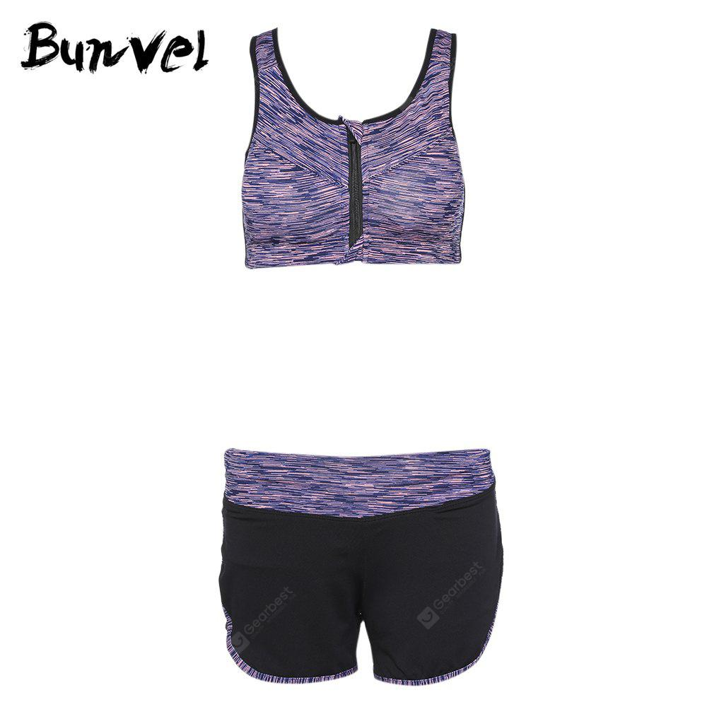 Bunvel Two-piece Shoulder Strap Print Women Sports Suit LIGHT PURPLE M