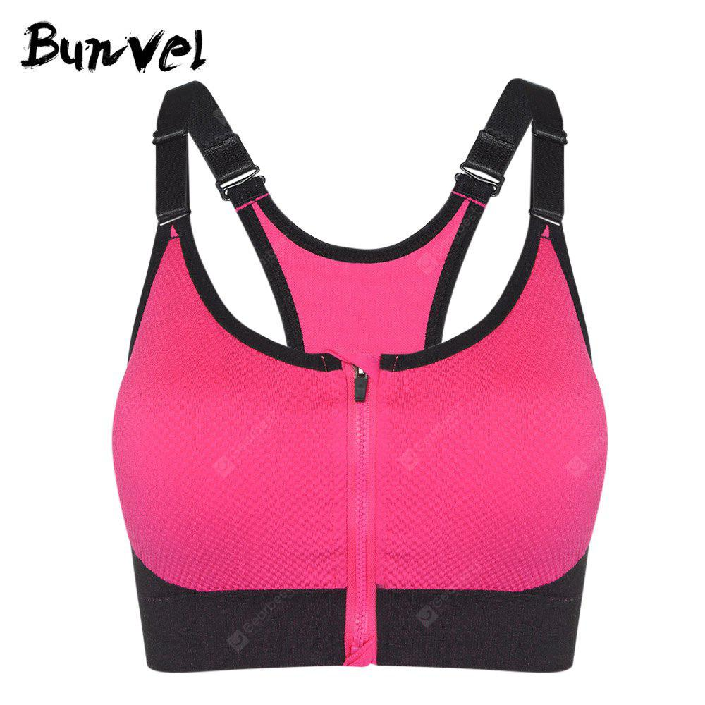 Bunvel Shoulder Strap Padded Zipper Women Sports Bra ROSE RED M