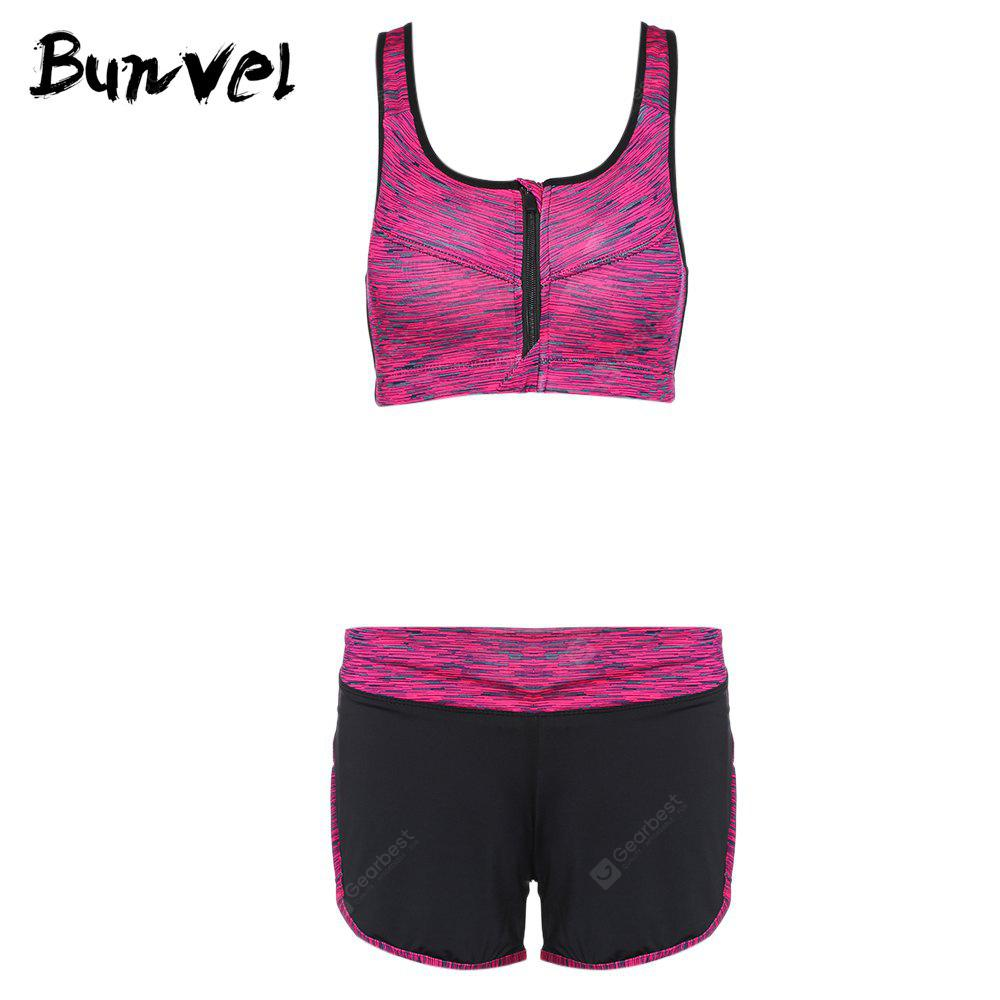 Bunvel Two-piece Shoulder Strap Print Women Sports Suit ROSE RED M
