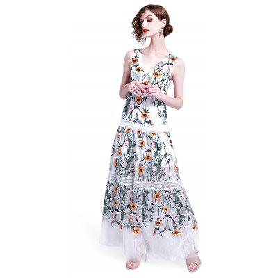 Women Party Female Sexy V Neck Floral Embroidery Long Dress