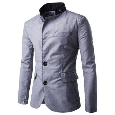 Stand Collar Long Sleeve Button Pocket Men Suit