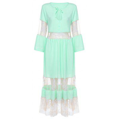 Long Sleeve Women Lace Up Mesh Ball Gown Floral Print Dress