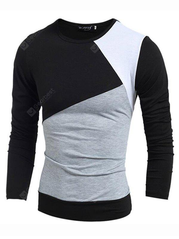 Men's Daily Sports Plus Size Casual Winter Fall Striped Color Block Round Neck Long Sleeves Cotton Thin T-shirt