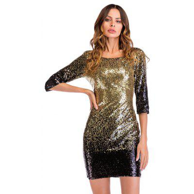 Round Collar 3/4 Sleeve Backless Sequins Women Mini Dress