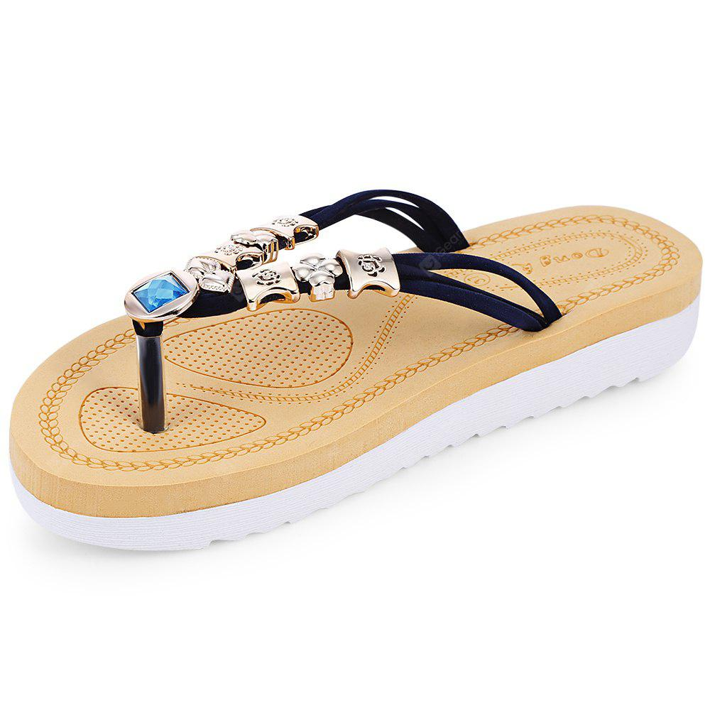 Toe Post Rhinestone Flat Heel Flip Flops Women Slippers