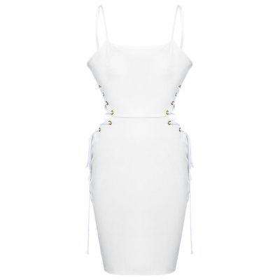 Buy WHITE L Spaghetti Strap Backless Lace-up Women Bodycon Dress for $10.57 in GearBest store