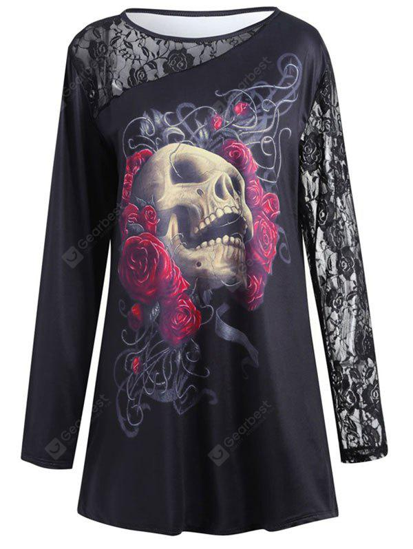 Halloween Prin Round Collar Skirt Long Sleeve Lace Stitching T-Shirt