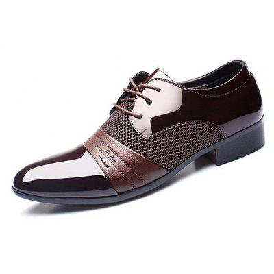 Men Lace-up Pointed Toe PU Leather Business Shoes
