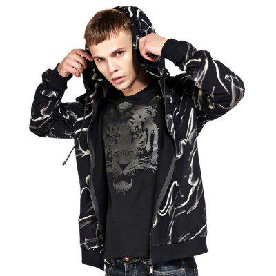 Men's Hoodie Casual Fashion Color Block Print All Match Long Sleeve Hoodie