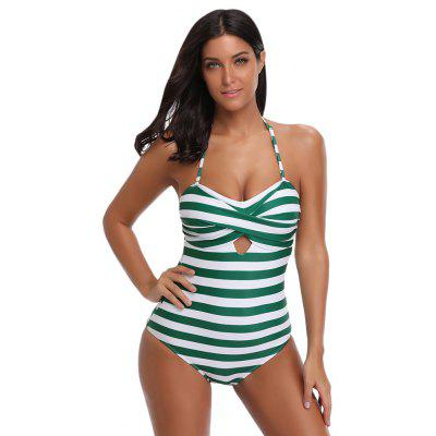 Halter Neck Backless Padded Print Cut Out Women Swimsuit