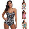 Halter Neck Backless Padded Print Cut Out Women Swimsuit - WHITE