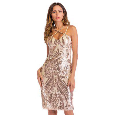 Sexy Plunge Neck Backless Slit Sequins Women Bodycon Dress