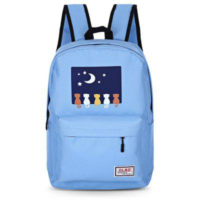 7pcs Cartoon Printing Backpack Women Zipper School Bags 4cls classic fashion genuine leather backpack women bags preppy style knapsack girls school book zipper shoulder women back pack