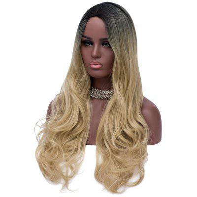 Synthetic Curly Long Middle Part Wig Women Gradient Hair fashion long curly hair wigs gold black