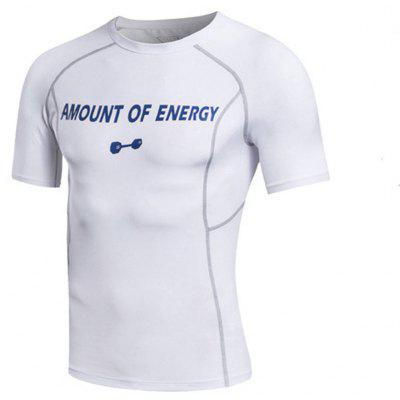 Men's Sport Compressed Fitness Running Fast Dry Short Sleeved T-Shirts- 3XL MILK WHITE