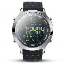 Diggro DI04 Smart Watch IP68 Waterproof 5ATM Pedometer Message Reminder Long Standby Time Outdoor Sports for Android IOS Black dial + pure green silicone strap
