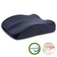 (PIL MEMORY FOAM) LANGRIA  Memory Foam Lumbar Support CertiPUR-US Certified Back Cushion Seat Wedge Cushion with Elastic Strap Dual Use, Navy Blue
