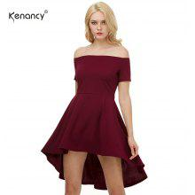 Kenancy Big Swing Dress Sexy Off Shoulder Short Sleeve Irregular Dress Female Elegant Party Dress