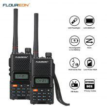 FLOUREON 16 Channel 2 Pack Handheld CTCSS/DCS Code Large LCD Display and keypad Twins FM Walkie Talkies Call Wireless Phone 2-Way Radio 7KM Range Programmable Interphone EU