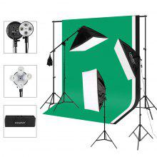 Craphy KR-RGX08 2000W Photo Studio LED Continuous Lighting Kit- 3 Color Backdrop & Background Support+ 4-Socket & Auto Pop-Up Softbox+ Light Stand + 45w LED Lamp+ Portable Bag with EU Plug